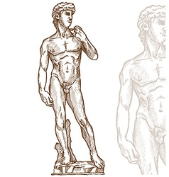 David statue of Michelangelo hand drawn vector