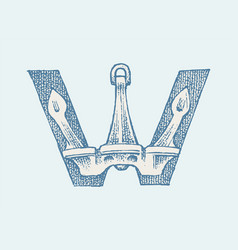 Decorative capital letter w marine ancient style vector