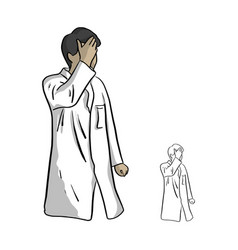 doctor having headache sketch vector image