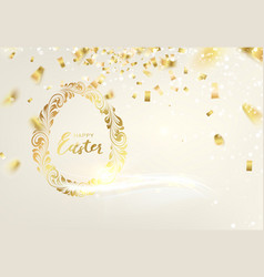 easter egg with curves ribbon confetti golden vector image
