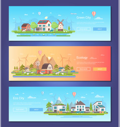 Eco city - set of modern flat design style vector