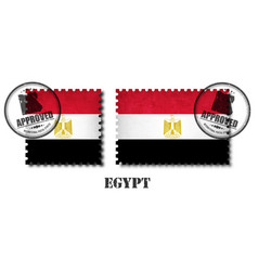 egypt or egyptian flag pattern postage stamp with vector image