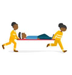 Emergency doctors transporting man on stretcher vector