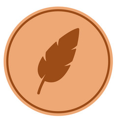 feather bronze coin vector image