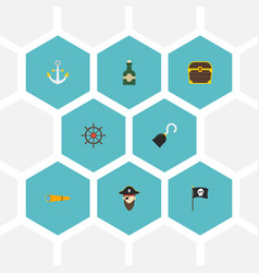 Flat icons bottle ship steering wheel pirate and vector