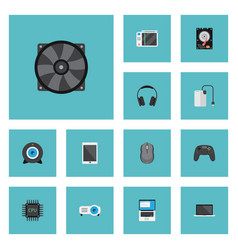 Flat icons cooler controller monitor and other vector