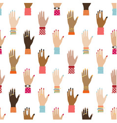 Flat seamless pattern with girl hands feminist vector