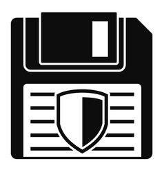 Floppy disk protected icon simple style vector