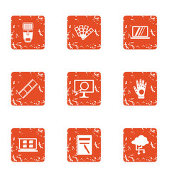 Flow of information icons set grunge style vector