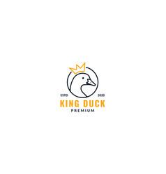 Goose or duck line crown logo design vector