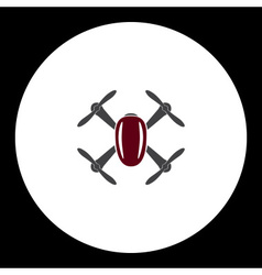 Gray and red quadcopter drone isolated symbol vector