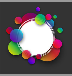 Grey round background with colour bubbles vector