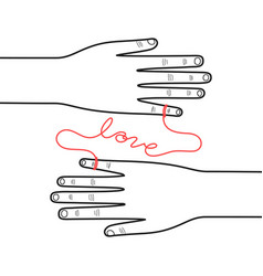 Hands connected red string fate on vector