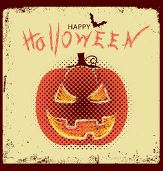 happy halloween with pumpkin and text on old vector image