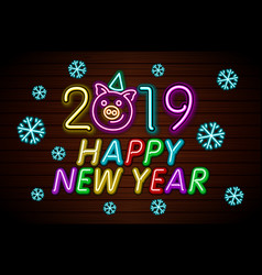 Happy new year 2019 design template pig greeting vector
