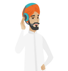 Hindu customer service operator in headset vector