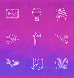 Hobby icons line style set with hot air balloon vector