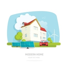 Home on nature landscape flat modern solar wind vector