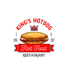 Hot dog restaurant fast food icon vector