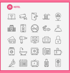 Hotel line icons set for infographics mobile uxui vector