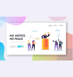 Justice is peace landing page judge law vector