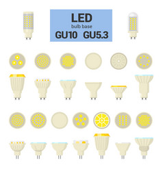 led light gu10 bulbs colorful icon set vector image