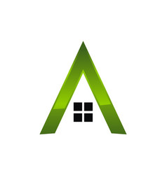 Letter a eco home vector