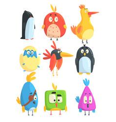 little cute bird chicks collection of cartoon vector image