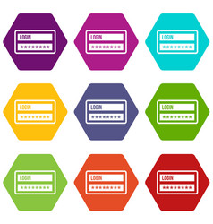 login and password icon set color hexahedron vector image