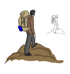 Man hiking with backpack standing on the top of vector