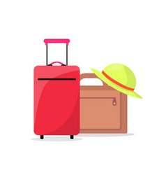 Modern suitcases and summer hat ready to travel vector