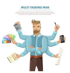 Multitasking man flat poster vector