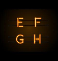 neon font efgh vector image