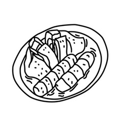 Pempek icon doodle hand drawn or outline icon vector