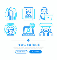 people and users thin line icons vector image