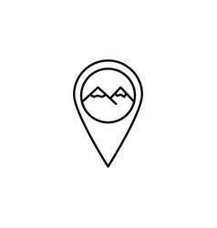 Pin geolocation mountain outline icon element of vector