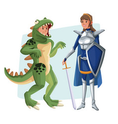 Poster with couple lizard man and warrior princess vector