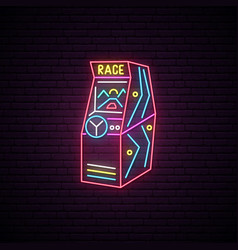 race arcade game machine neon sign advertising vector image