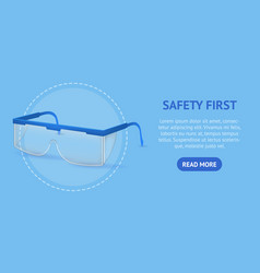 Realistic detailed 3d plastic safety glasses card vector