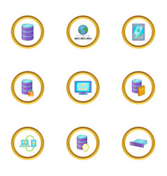 Reliable data storage icons set cartoon style vector
