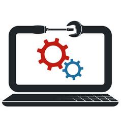 Repair and maintenance laptop computers symbol vector