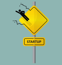 Road sign of entrepreneur launching vector