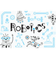 robotics for kids banner or card robots and vector image