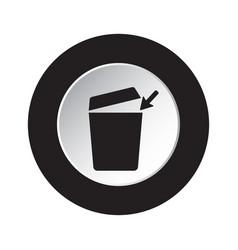 round black white button - trashcan arrow icon vector image