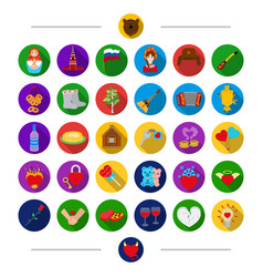 Russia nationality attributes and other web icon vector