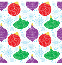 seamless pattern with cartoon christmas ball vector image