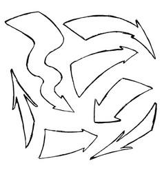 set hand-drawn doodle black arrows vector image