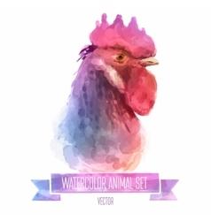 set watercolor cute cock vector image