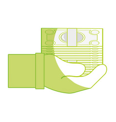 silhouette bill cash money in the hand vector image