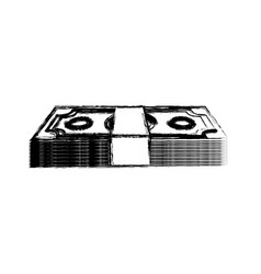 Silhouette dollar bills organized vector